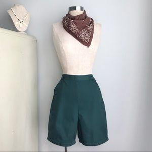 Vintage GIRL SCOUT High-Waisted Green Camp Shorts